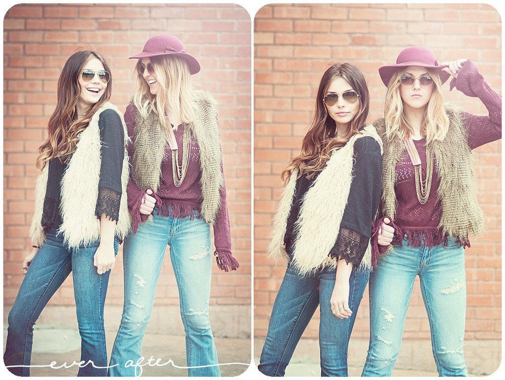 70's inspired image of two high school seniors