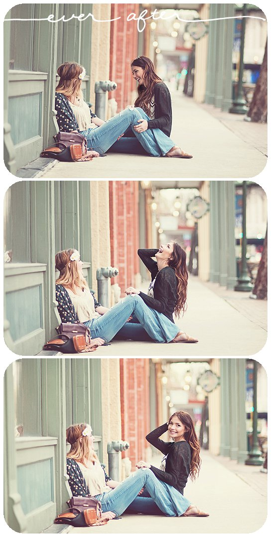 hippy girls laughing on sidewalk