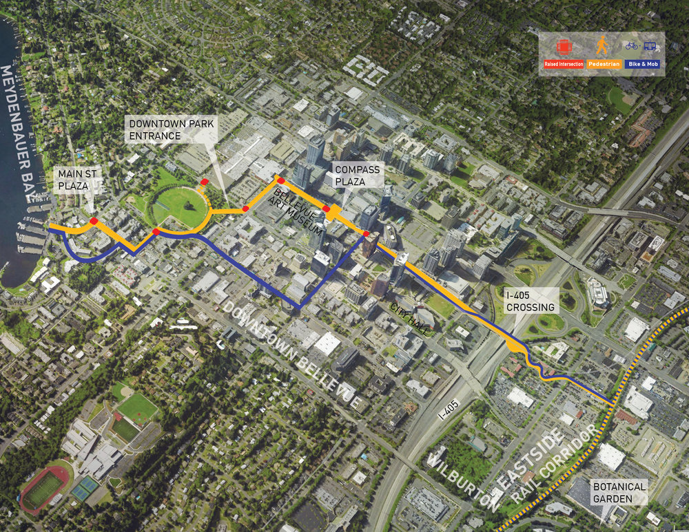 - City of Bellevue, WA. Balmori's team has been selected for the first step in the  implementation phase of the Grand Connection visioning process. The Grand Connection Design Guidelines will prioritize connectivity and continuity of spaces to link people, places, and wildlife habitats within the urban matrix.