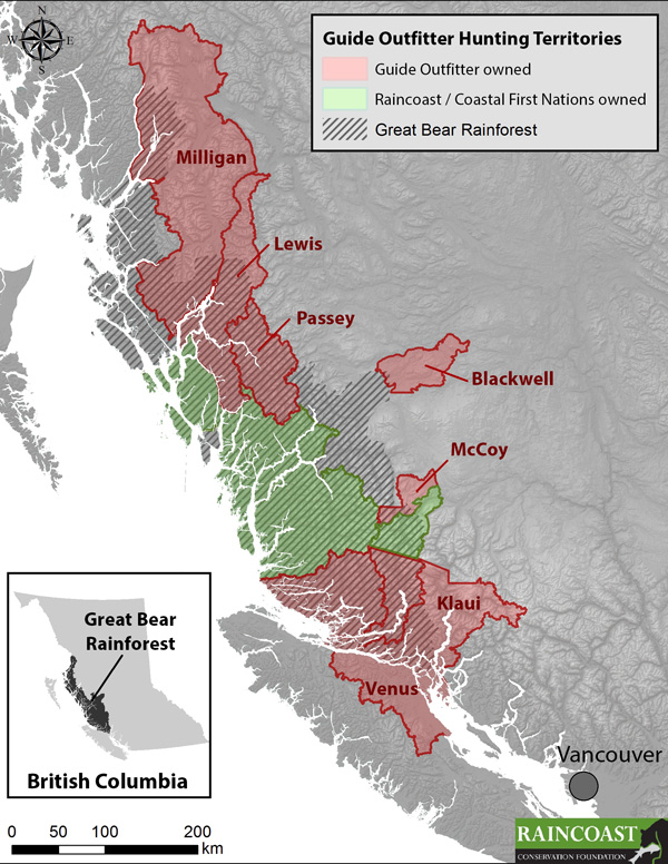 Reprinted with permission from the  Raincoast Conservation Foundation . Raincoast and their First Nation partners currently control three commercial hunting territories (roughly 30,000 sq km in green, AKA Guide Outfitter tenures) in Canada's Great Bear Rainforest.  The goal is to purchase all remaining territories and, with First Nation partners, end the trophy hunting of bears, wolves and large carnivores throughout this region.