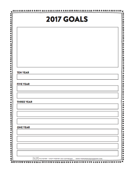 The Paper + Craft Pantry 2017 Goals Setting Worksheet