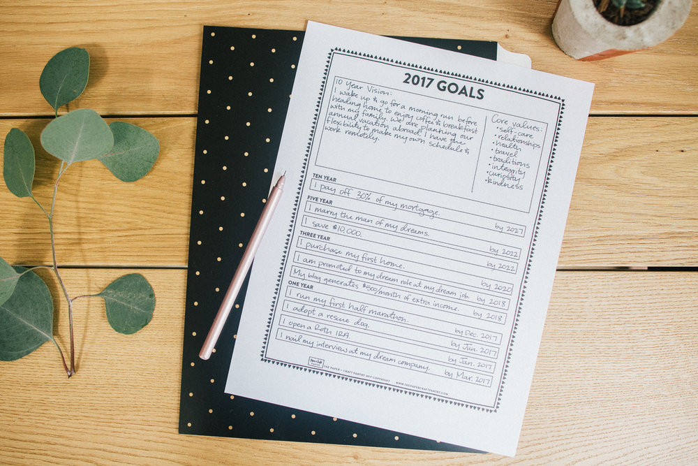 Paper Craft Pantry Blog Goal Setting Templat