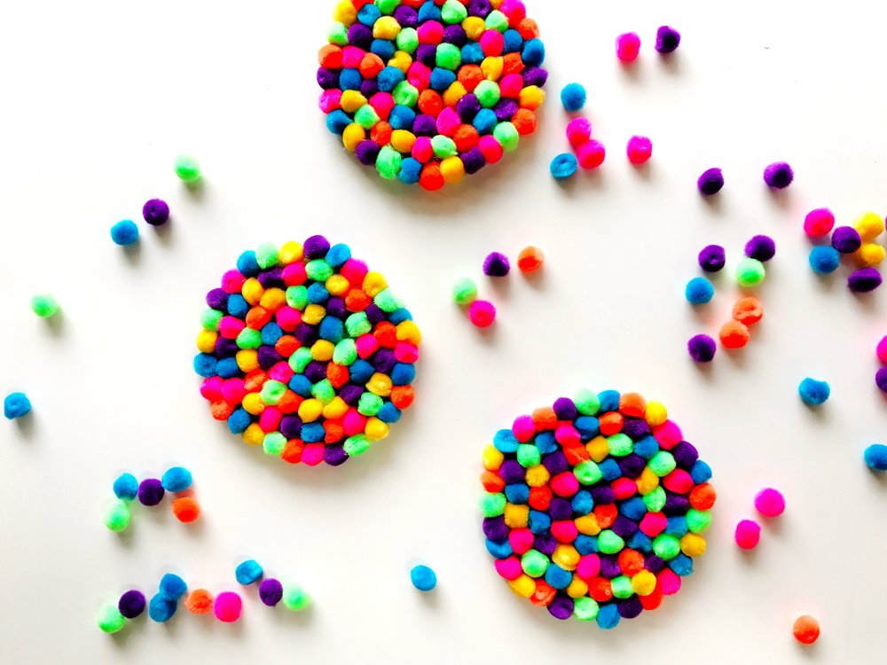 Paper Craft Pantry DIY Austin Blog Colorful Pom Pom Party Coasters