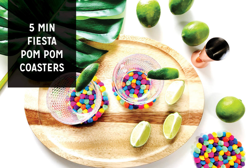 Paper Craft Pantry Blog DIY Fiesta Pom Pom Coaster Cinco De Mayo Craft