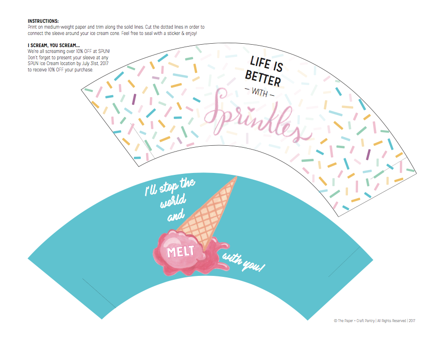 Paper + Craft Pantry Blog Ice Cream Cone Cuties Printables National Ice Cream Month