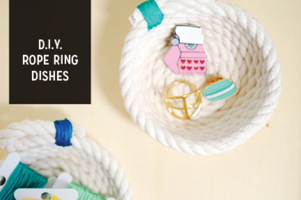 Simple DIY Rope Dishes for your collections of rings, keys, tchotchkies and knick-knacks
