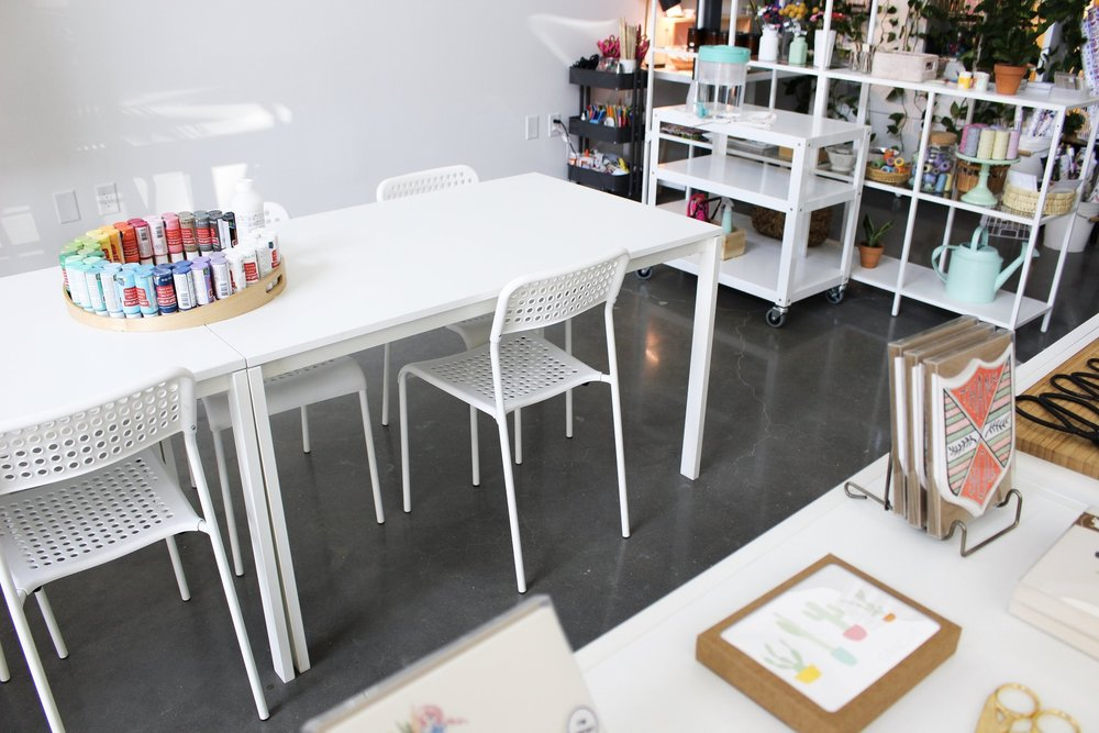 Paper + Craft Pantry Blog: Just a small part of our long workshop table.