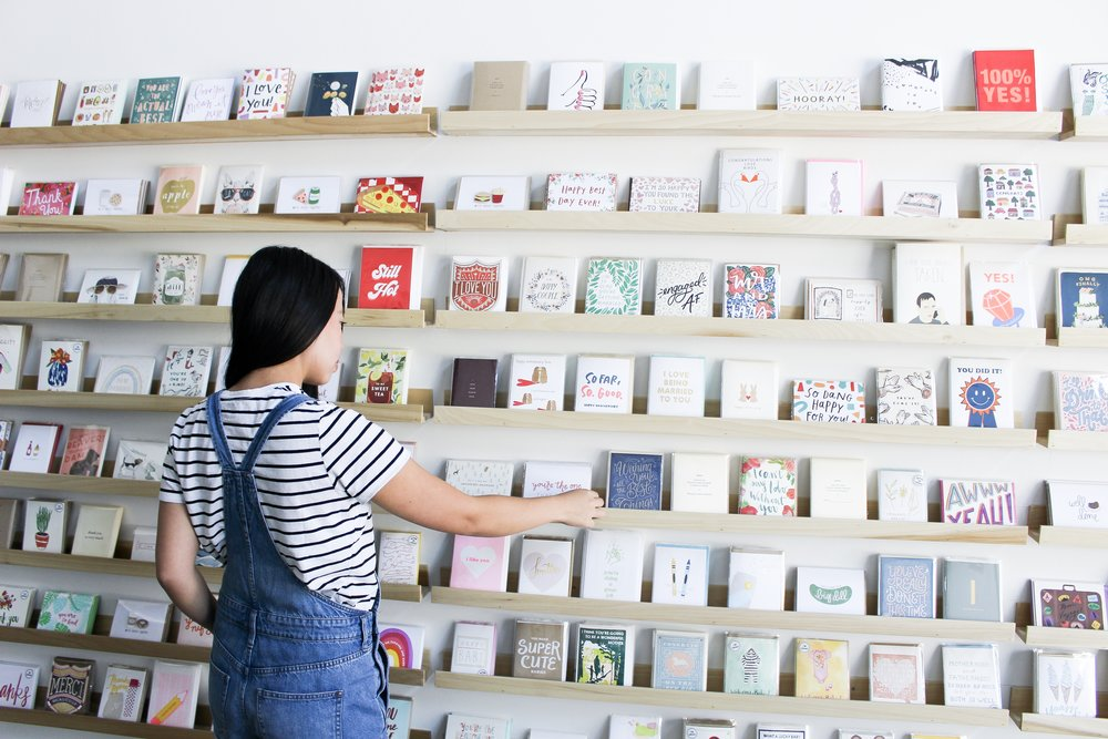The Paper + Craft Pantry new card wall.