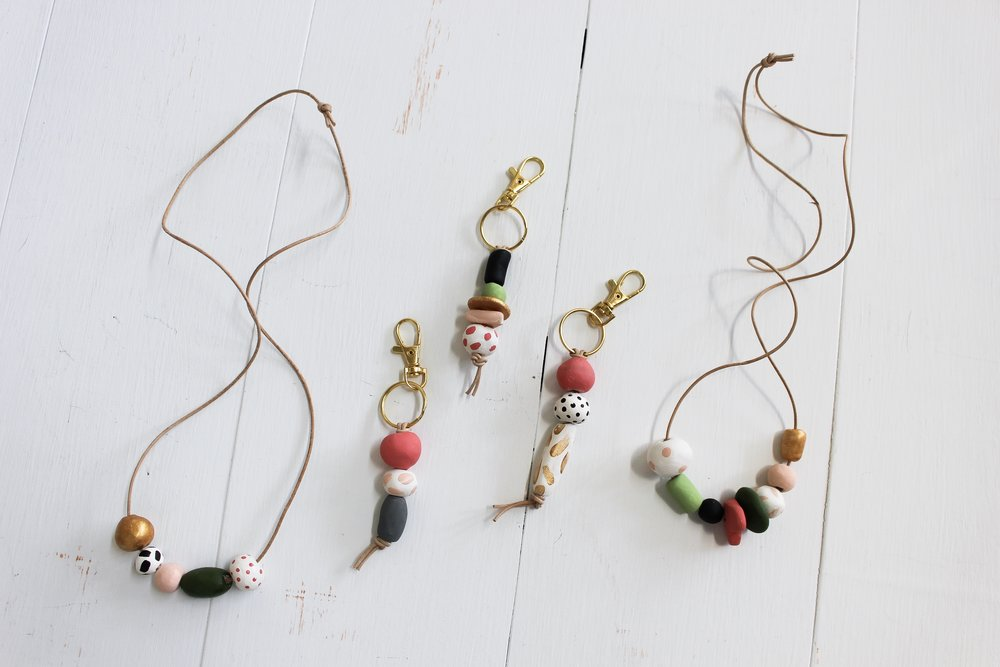 The Paper Craft Pantry Blog: The final product of our dry and painted clay bead jewelry and keychain.