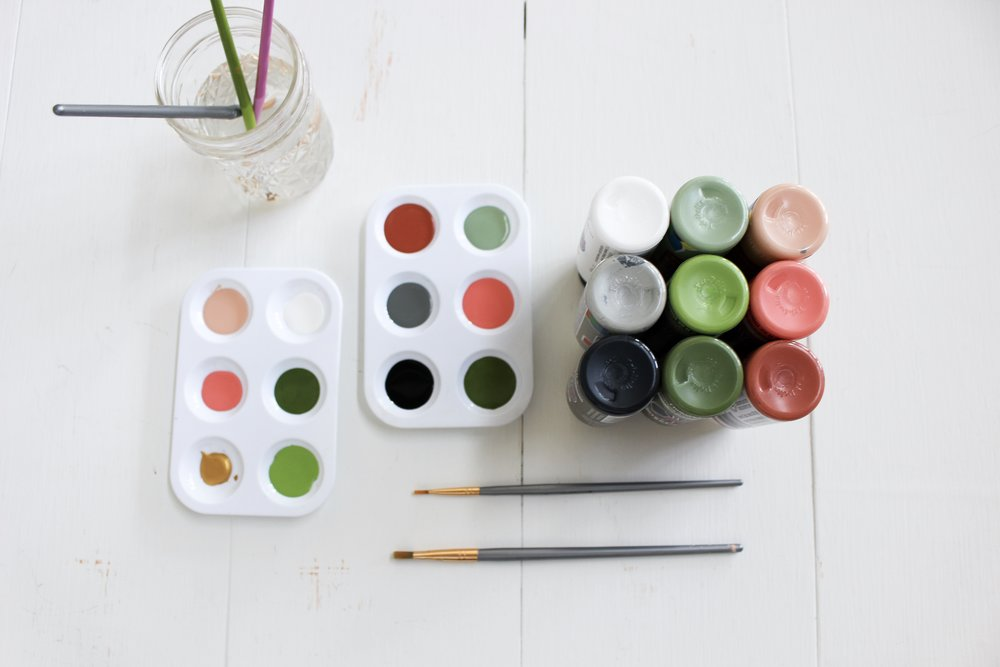 The Paper + Craft Pantry: Supplies for d.i.y. clay beads. Paint, water, and paint brushes.