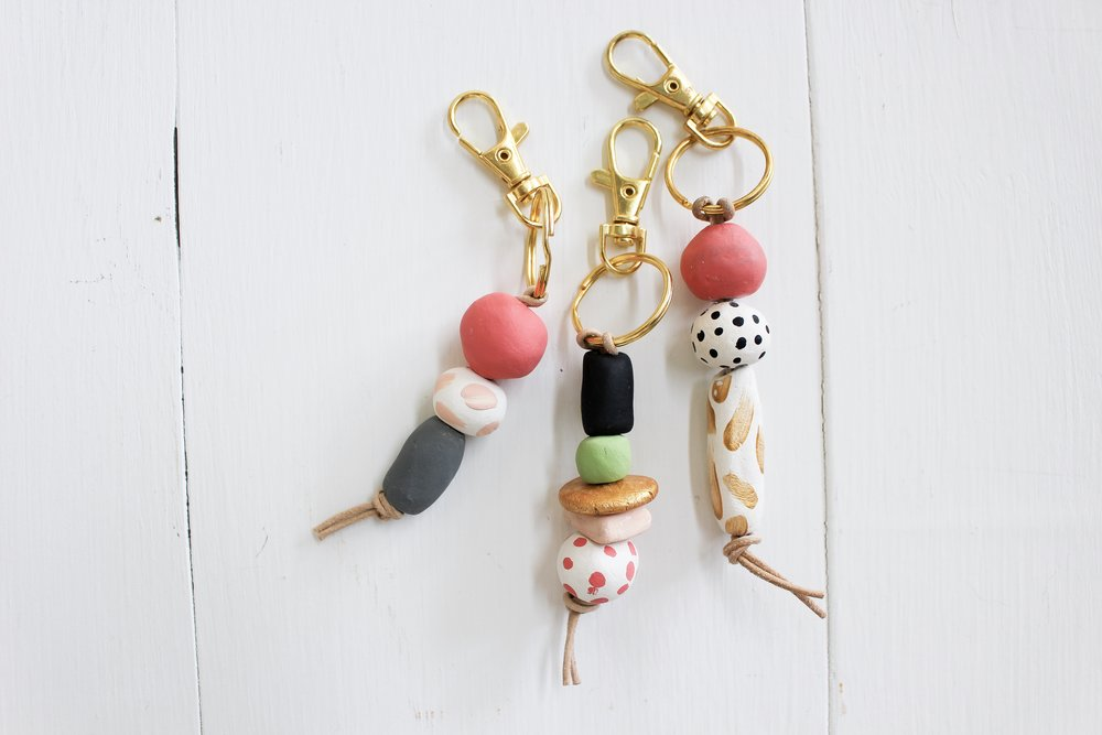 The Paper + Craft Pantry Blog: The finished project of the d.i.y clay bead keychain.