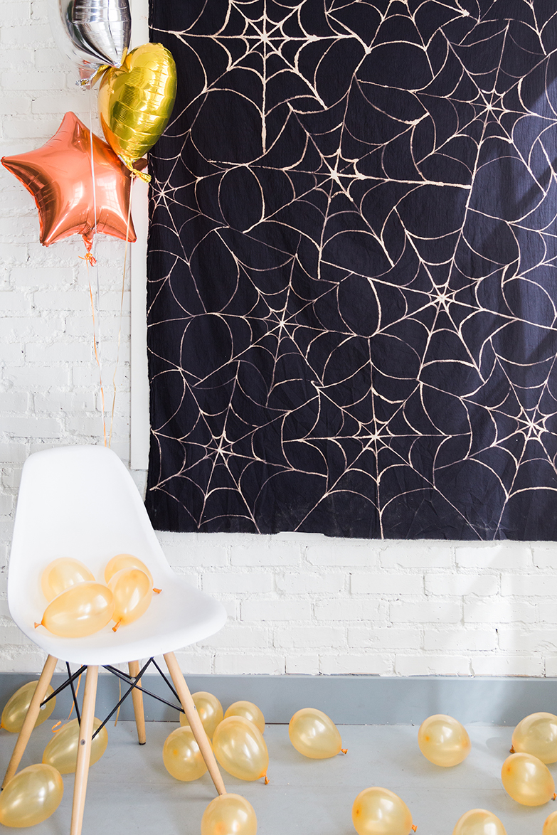 The Paper + Craft Pantry Blog: Spider Web D.I.Y. table cloth hung up and used as a table cloth.