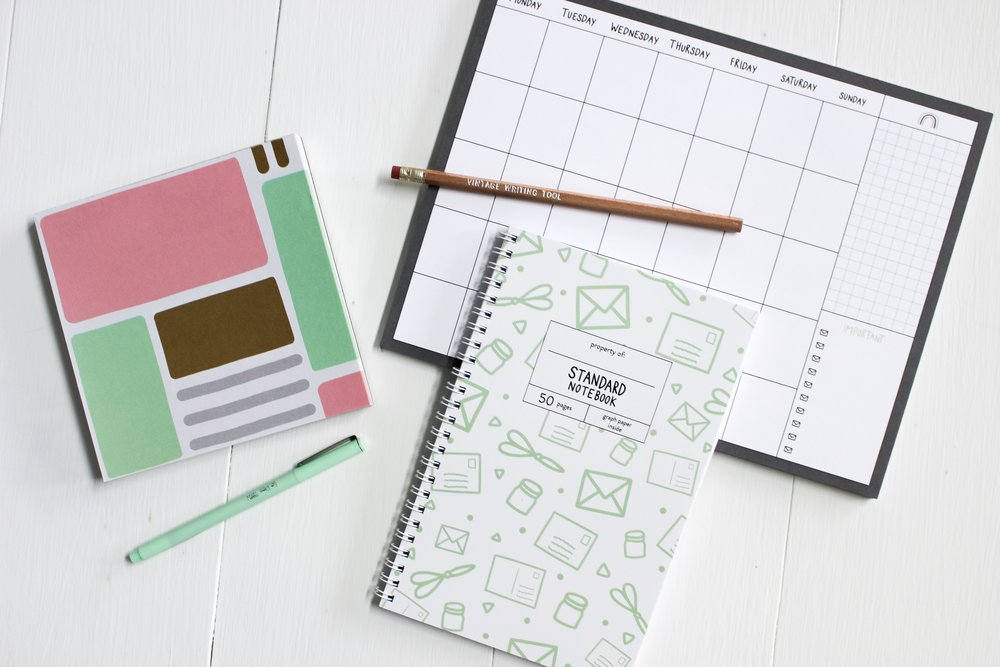 The Paper + Craft Pantry Blog: The beautiful standard notebook, weekly calendar, and color block notepad.