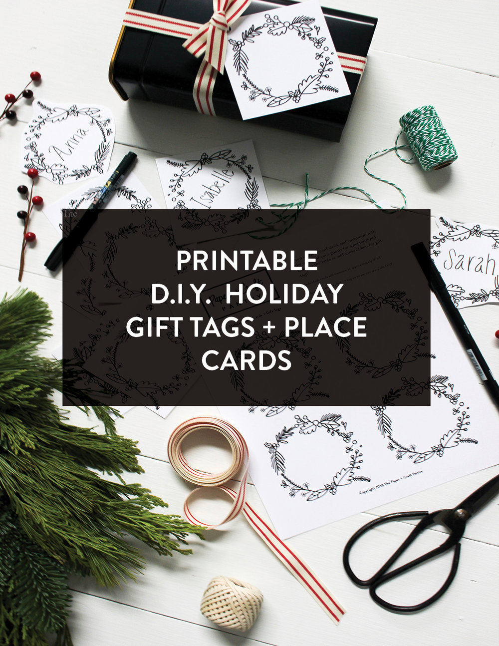 The Paper + Craft Pantry Austin- Pinterest printable diy holiday gift tags + place cards