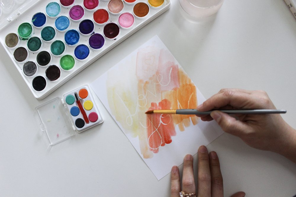 The Paper + Craft Pantry Blog: Now we are watercoloring the paper to reveal the message!