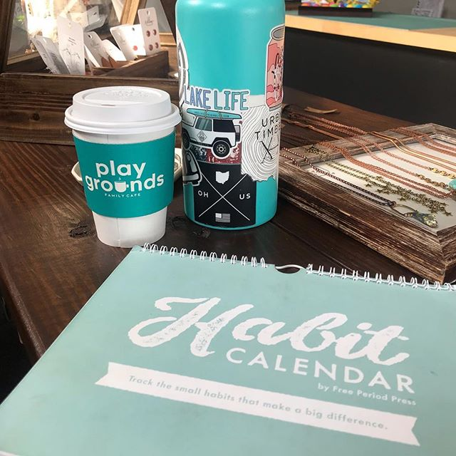 Coffee ✔️ Water ✔️ Journal ✔️ My morning habits are starting to color coordinate 💁🏼♀️ . . . . #morningroutine #habitcalendar #color