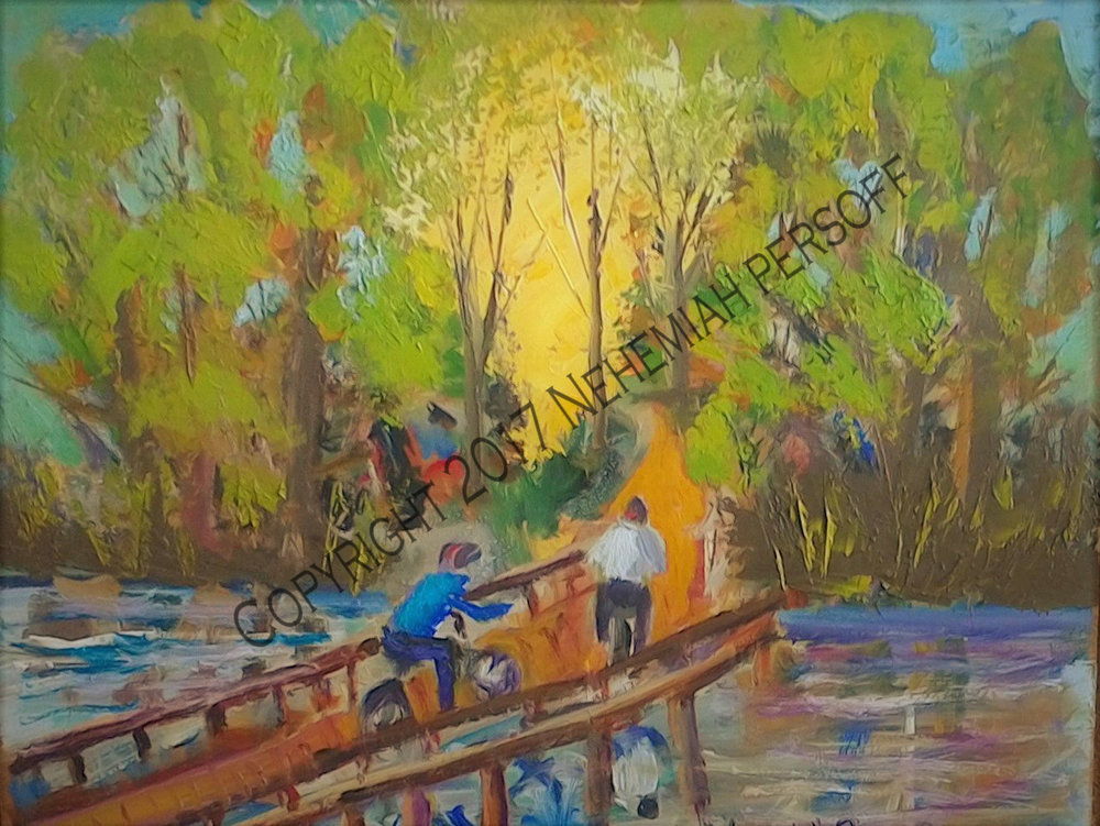 """Bicycling Into The Woods"", Pallet knife and brush, Oil on Plywood (20x24) $10000"