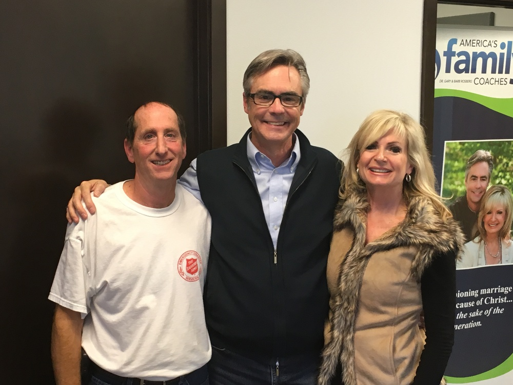 Gary and Barb with Jim Civitate, Emergency Disaster Services Coordinator for The Salvation Army in Des Moines