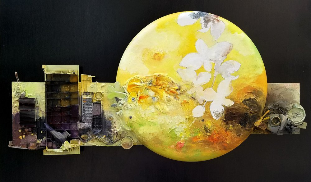 "Ann Phong,  Fragile Nature , 2017, mixed media, 20"" x 40"""