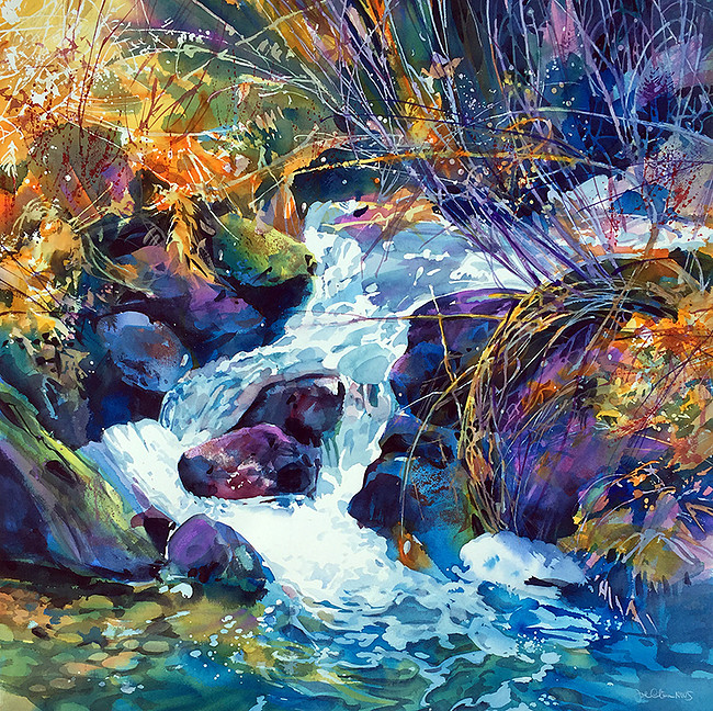 "Image credit: Joe Cibere,  River Stream , Transparent watercolor on paper, 36"" x 36"""