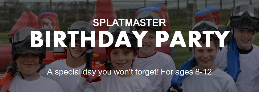Splatmaster Paintball Birthday Party. A special day you won't forget! For ages 8-12. Come and play paintball with us! We are located just outside of Sacramento, Roseville, Elk Grove, Vacaville, Napa Valley, Vallejo, Fairfield, and the San Francisco Bay Area.