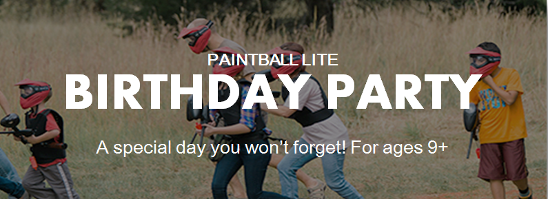 Paintball Lite Birthday Party (aka Low Impact Paintball Party). A special day you won't forget! For ages 9+. Come and play paintball with us! We are located just outside of Sacramento, Roseville, Elk Grove, Vacaville, Napa Valley, Vallejo, Fairfield, and the San Francisco Bay Area.