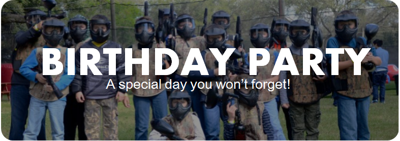 Paintball Birthday Party. A special day you won't forget! Come and play paintball with us! We are located just outside of Sacramento, Roseville, Elk Grove, Vacaville, Napa Valley, Vallejo, Fairfield, and the San Francisco Bay Area.