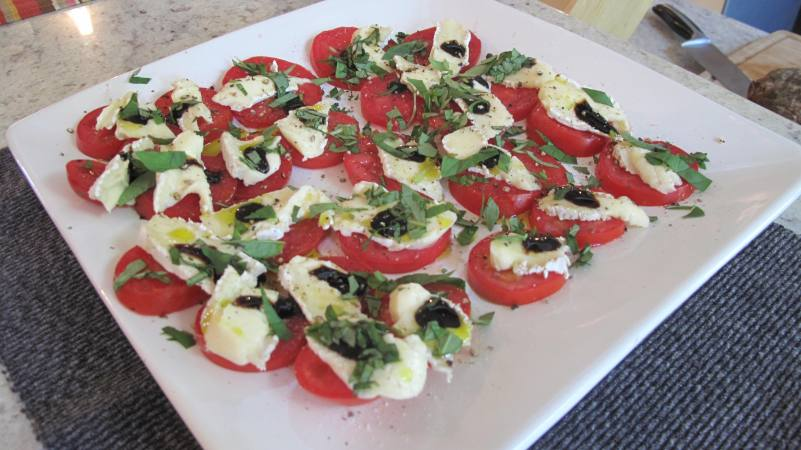 Caprese with brie and balsamic reduction.