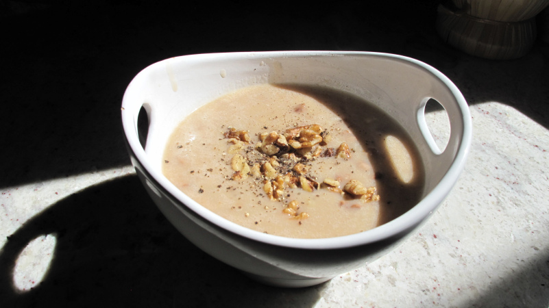The perfect antidote to a chilly fall day: a piping hot bowl of roasted fennel bisque with toasted walnuts and a hefty dose of fresh ground black pepper.