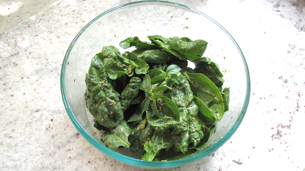 Add a couple tablespoons of olive oil to a tablespoon of pesto and you've got a delicious salad dressing!