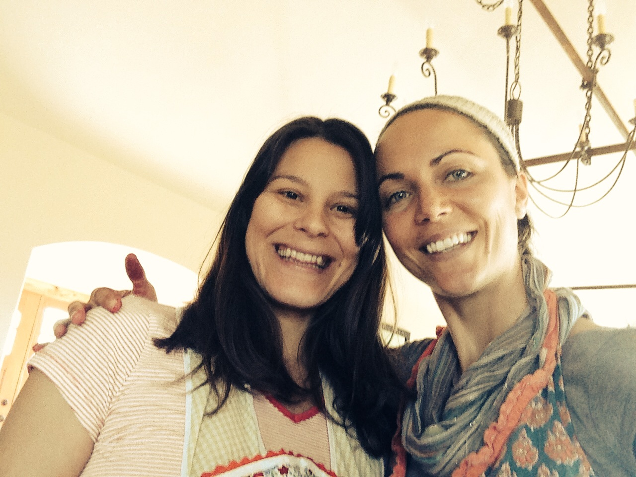Tamlin and me, having a domestic goddess day in our frilly aprons. She taught me how to can beets. So fun!