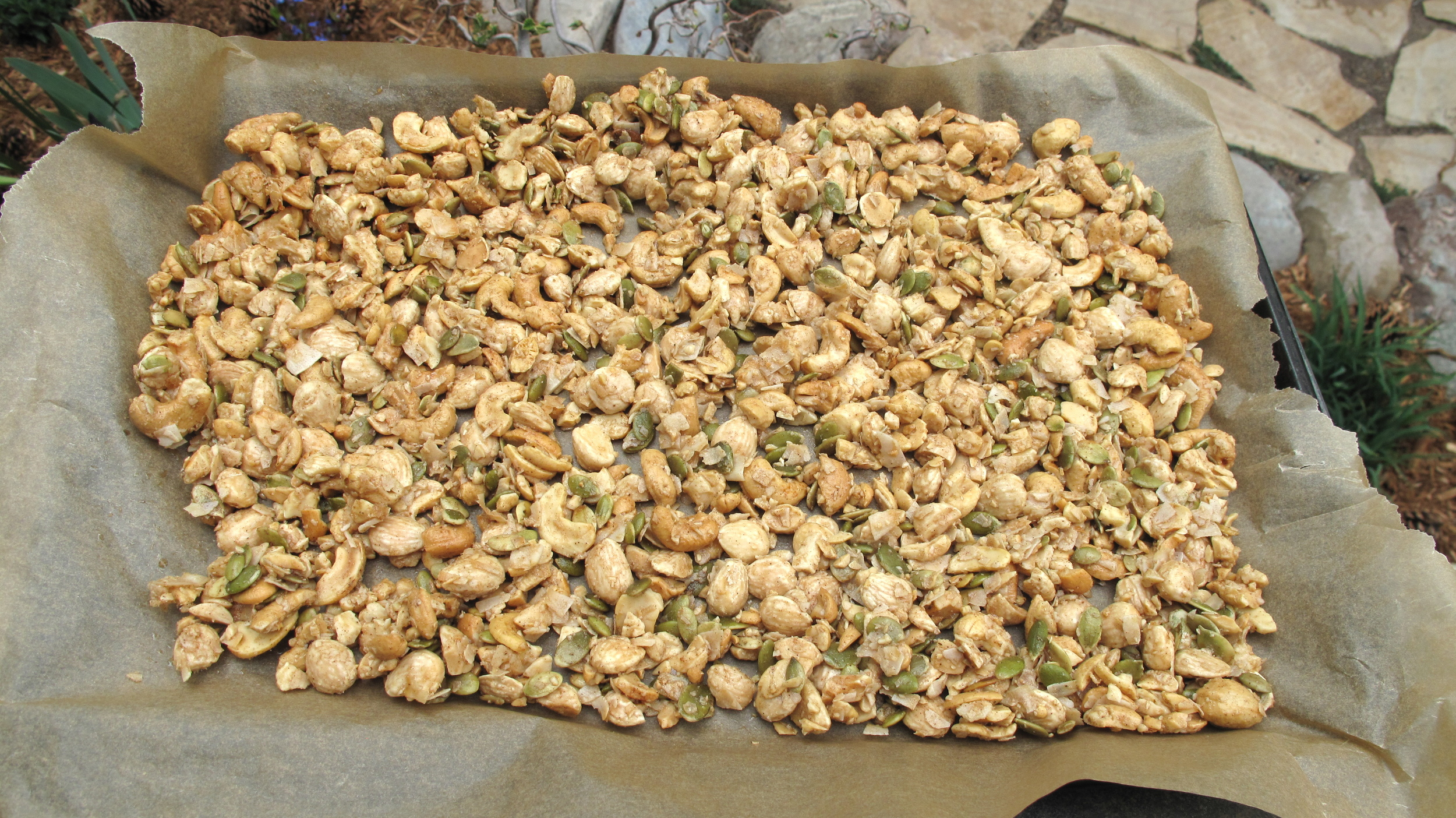 Granola on a cookie sheet