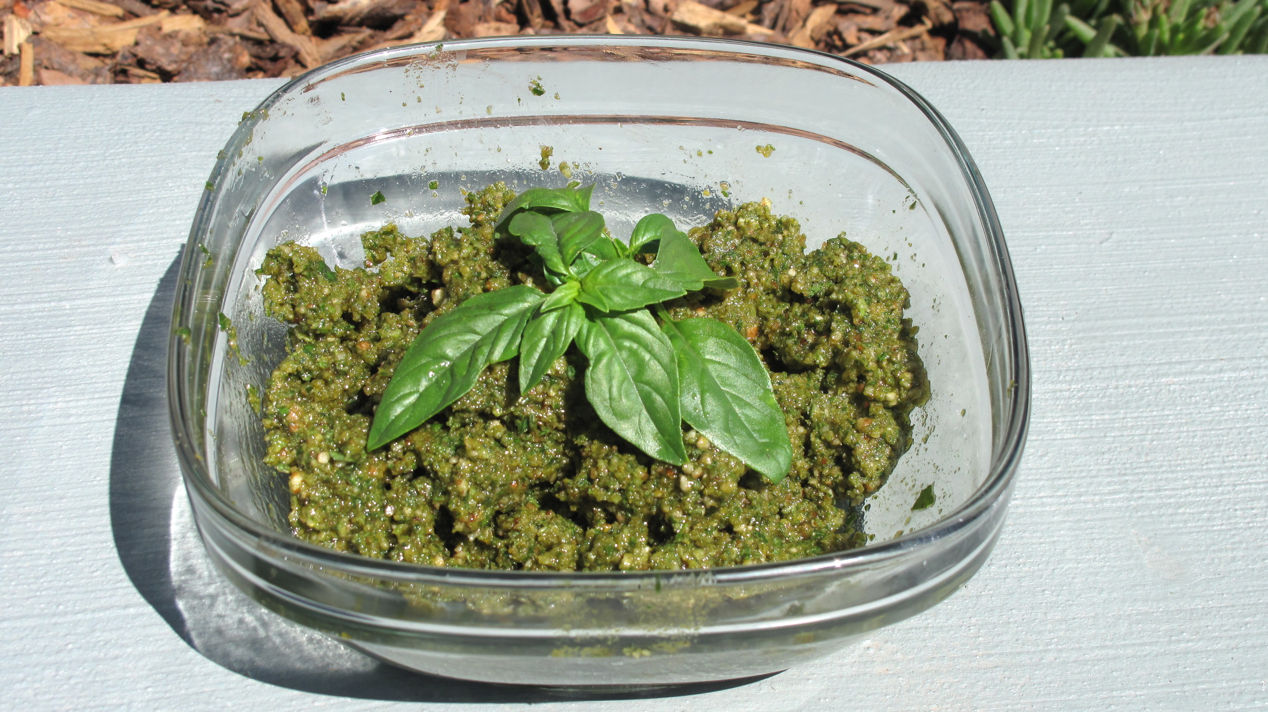 Slathered on bread, tomatoes, or to dress a salad, this pesto is tops!
