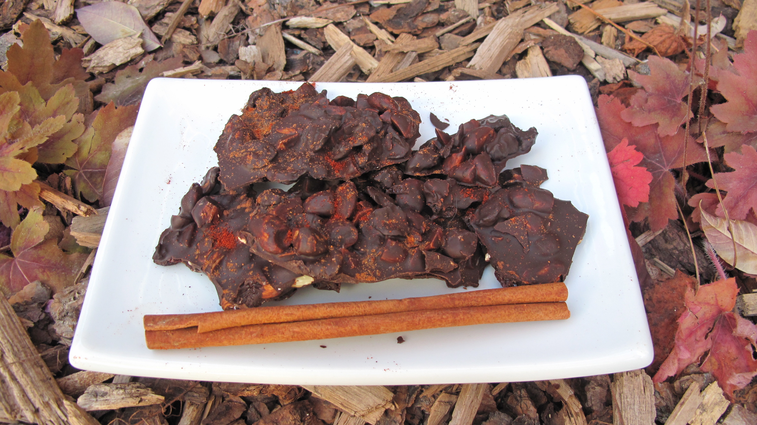 This spicy sweet chocolate bark can be made in bulk and makes a great gift.