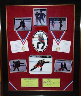 Figure Skating Photos, scorecards, and medals shadowboxed to commemorate Skate Wilmington