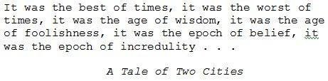 First sentence of A Tale of Two Cities