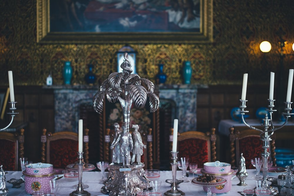 Picture of opulent dining room set for a dinner party