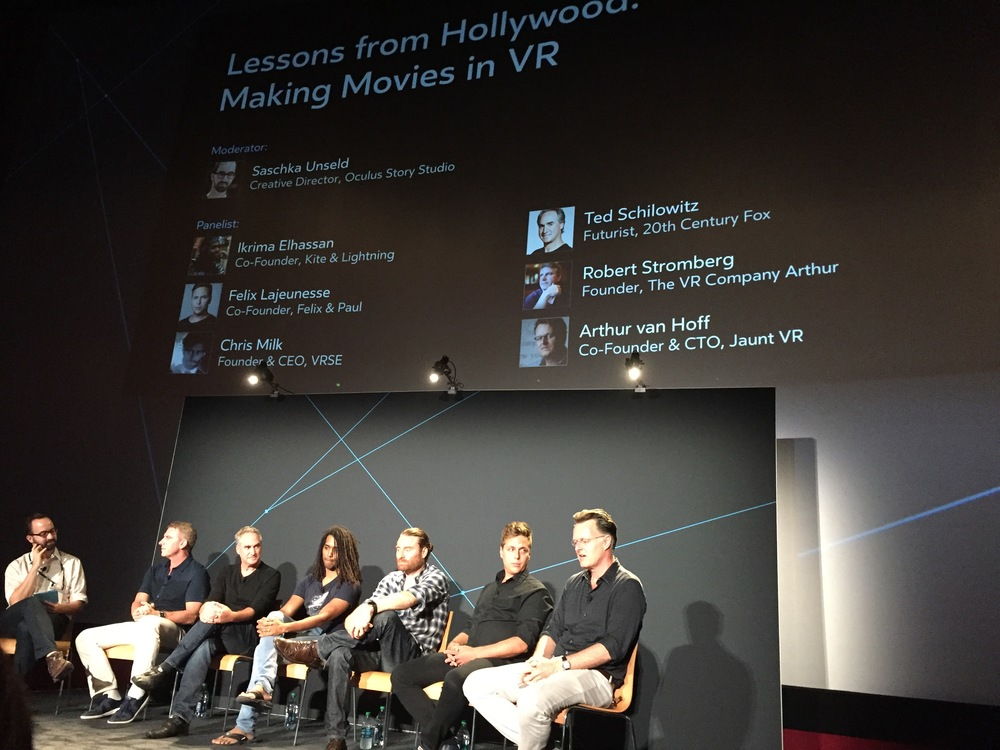I was VR starstruck: (from left to right)Saschka Unseld from Oculus Story Studio, Robert Stromberg from The VR Company, Ted Schilowitz from 20th Century Fox, Ikrima Elhassan from Kite & Lighting, Chris Milk from VRSE, Felix Lajeunesse from Felix & Paul and Arthur van Hoff from Jaunt.