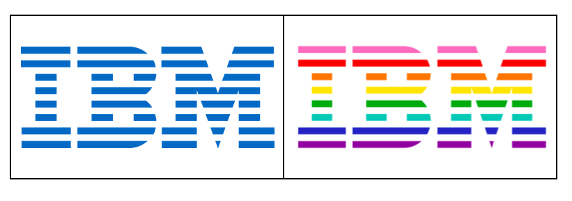 IBM's original logo (left) and their new LGBT-inclusion logo (right).
