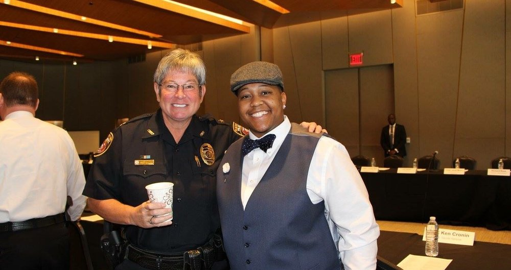 Chief of Police for Peachtree City Police Dept., Janet Moon, and I pausing mid-conversation  for a picture prior to the event.
