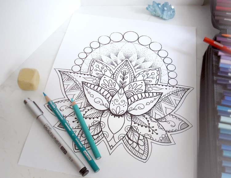 Henna Lotus Adult Coloring Page Download Robin Snyder