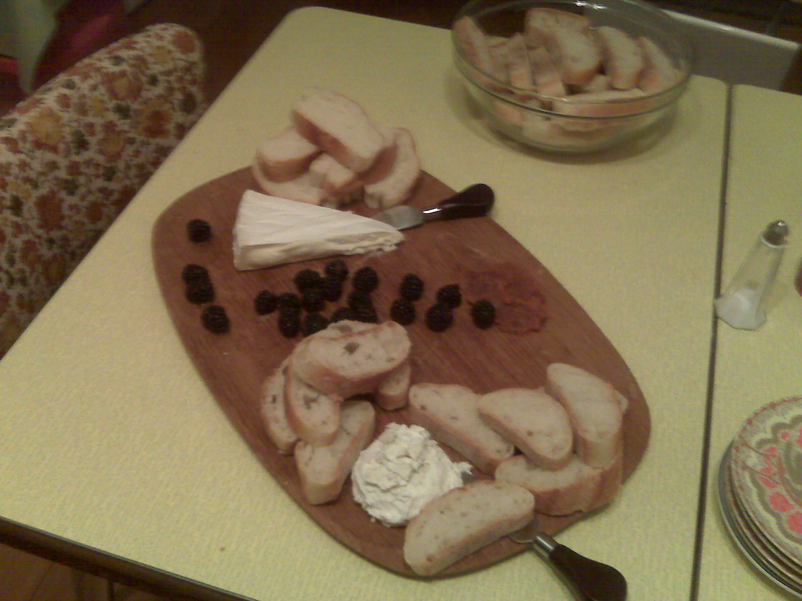 Lavendar goat cheese...brie...blackberries...honey...LOVE