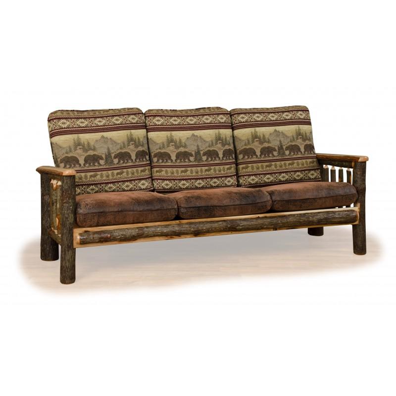 Rustic Hickory Log Upholstered Sofa