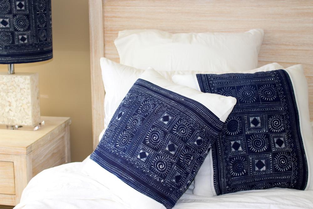 Vietnamese Hmong Indigo Batik cushions. Image by KeapSake