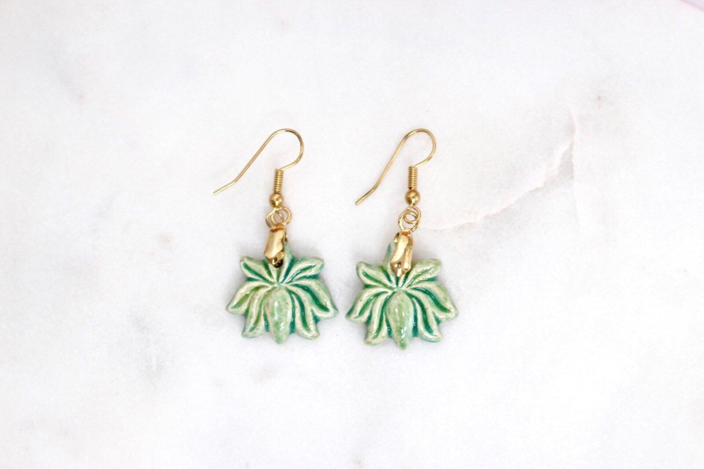 Lotus Flower Clay Earrings Green Keapsake