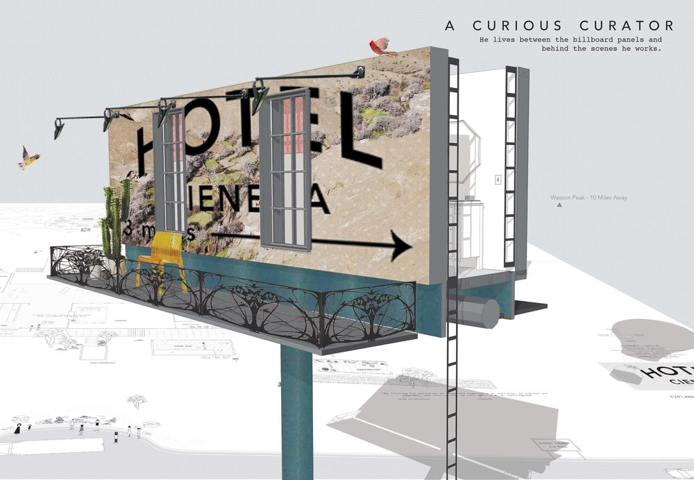 The curious curator - the concierge who lives between the billboard panels,