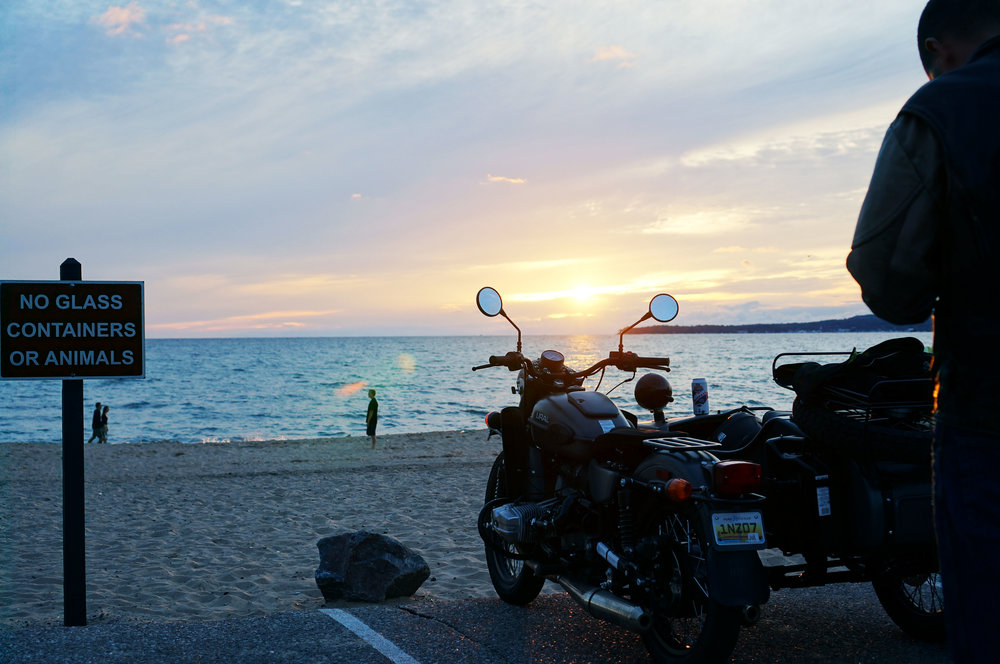 "Sunset in Petoskey, MI - ""No glass containers or animals"" = no fun but p.s. we had Ralphie, our beastly dog animal, in the sidecar..."