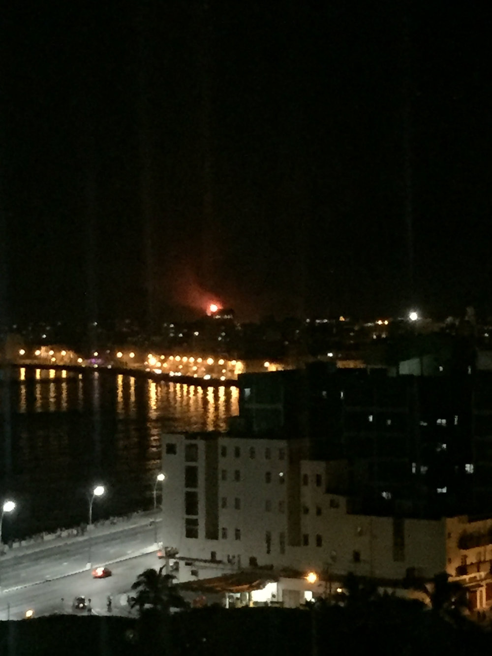 The extremely alarming fireball that I later found out was from an oil refinery across the river.