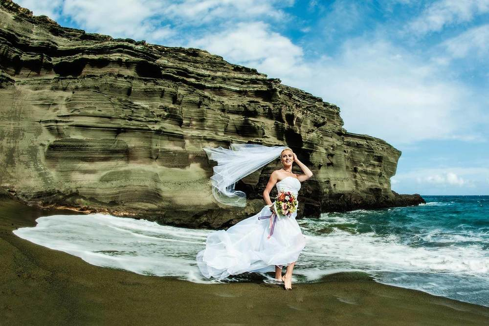 Green Sand Beach Bridal Shoot