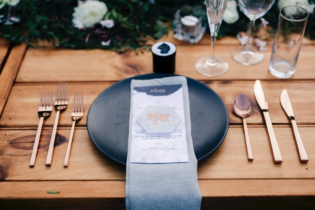 Making sure the 'right shade of grey' was used for our wedding napkins.